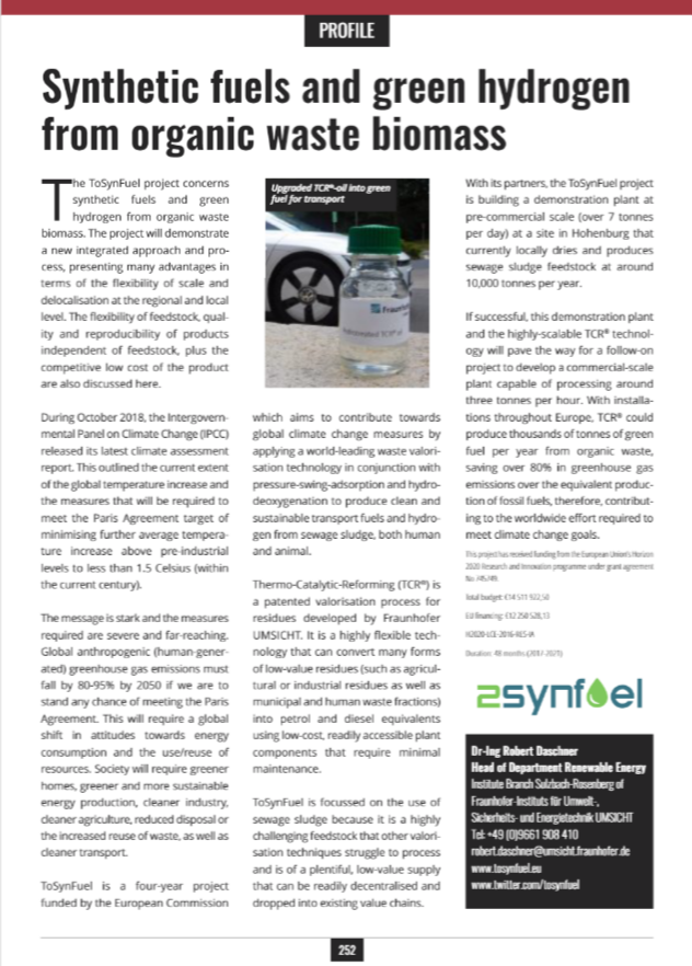 TO-SYN-FUEL article published on Open Access Government