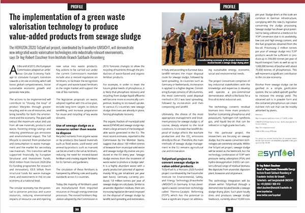The implementation of a green waste valorisation technology to produce value-added products from sewage sludge